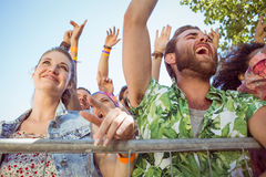 Excited young people singing along Royalty Free Stock Images