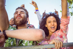 Excited young people singing along Stock Image