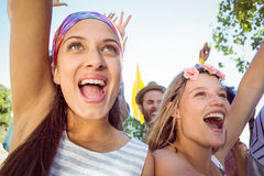 Excited young people singing along Stock Photography