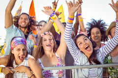 Excited young people singing along Royalty Free Stock Image