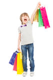 Excited young shopping girl shouting for joy Stock Photos