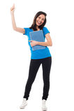 Excited young student raising her hand. Female student raising her arm up and holding notebook Royalty Free Stock Photo