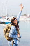 Excited young tourist Royalty Free Stock Photos