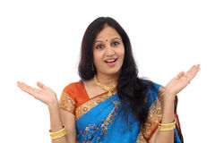 Excited young traditional Indian woman Royalty Free Stock Photo