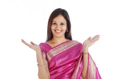 Excited young traditional woman Royalty Free Stock Images