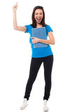 Excited young university student shouting loud. Girl student raising her arm up and holding notebook, extremely excited Stock Photo