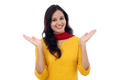 Excited young woman against white background Royalty Free Stock Photos