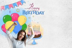 Excited young woman on birthday background. Excited young woman celebrating success on creative colorful birthday sketch background. Celebration concept Stock Photo