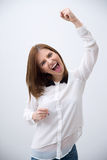 Excited young woman celebrating success Stock Photos