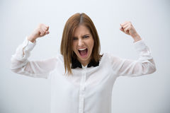Excited young woman celebrating success Royalty Free Stock Photo