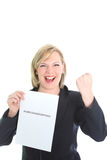 Excited young woman with certficate Stock Photos
