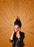 Excited young woman with extreme hairtsyle and hand drawn lines Stock Images