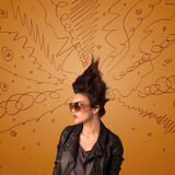 Excited young woman with extreme hairtsyle and hand drawn lines Stock Photo