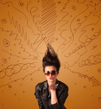Excited young woman with extreme hairtsyle and hand drawn lines Stock Photos