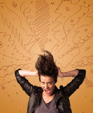 Excited young woman with extreme hairtsyle and hand drawn lines Royalty Free Stock Photo