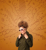 Excited young woman with extreme hairtsyle and hand drawn lines Stock Image