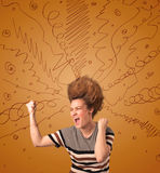 Excited young woman with extreme hairtsyle and hand drawn lines Stock Photography