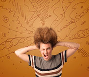 Excited young woman with extreme hairtsyle and hand drawn lines Royalty Free Stock Image
