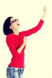 Excited young woman with fists up Royalty Free Stock Photo