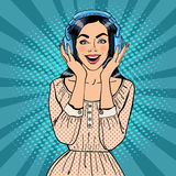 Excited Young Woman Listening Music. Girl in Headphones. Pop Art. Vector Royalty Free Stock Image