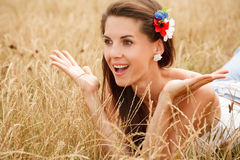Excited young woman Royalty Free Stock Images