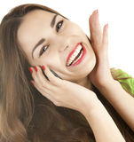 Excited young woman with phone Royalty Free Stock Photography