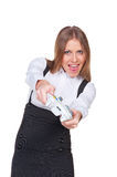 Excited young woman playing in video game Stock Photography