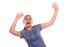 Excited young woman screaming with hands up Royalty Free Stock Photography