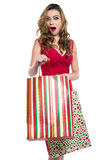 Excited young woman with shopping bags Royalty Free Stock Photography
