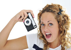 An excited young woman shouting Royalty Free Stock Image