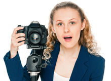 Excited young woman shouting a camera Royalty Free Stock Image