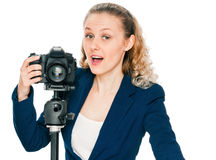 Excited young woman shouting a camera Royalty Free Stock Photo