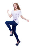 Excited Young Woman on white isolated - Stock Image Royalty Free Stock Photos