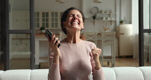 Free Excited Young Woman Winner Celebrate Mobile Online Betting Victory Royalty Free Stock Photos - 217842578