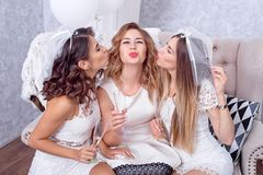 Excited young woman being kissed by her friends royalty free stock image