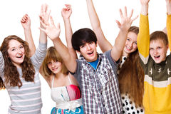 Excited youth. Over white background Stock Photos