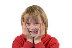 Excitement. Boy with excited expression, focus on eyes Stock Images