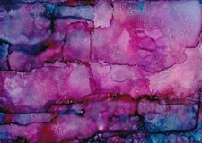 Excitement. Alcohol ink abstract painting with rich pinks, purples and blues Royalty Free Stock Image
