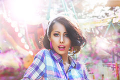 Excitement. Astonished and Amazed Woman's Face in Bokeh Stock Photos