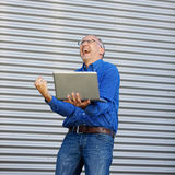 Excitement Businessman Outddor Stock Image