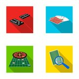 Excitement, casino, game and other web icon in flat style Magnifier, cheating, entertainment, icons in set collection. Royalty Free Stock Photography