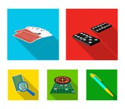 Excitement, casino, game and other web icon in flat style Magnifier, cheating, entertainment, icons in set collection. Royalty Free Stock Photo