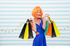Excitement. happy woman go shopping. Crazy girl with shopping bags. Last preparations. big sale in shopping mall. Happy. Shopping online. Happy holidays royalty free stock photos