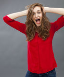 Excitement and humor concept for beautiful young woman Royalty Free Stock Photo
