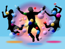 Excitement Jumping Indicates Disco Dancing And Activity. Excitement Bubbles Showing Disco Dancing And Dance Stock Photos