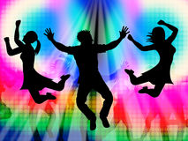Excitement Jumping Represents Disco Dancing And Activity. Excitement Jumping Indicating Disco Music And Celebration Stock Image