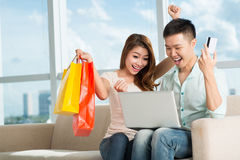 Excitement of shopping Stock Photography