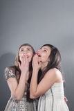Excitement and surprise by beautiful young women Stock Images