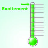Excitement Thermometer Means Centigrade Thrill And Celsius. Excitement Thermometer Showing Thrill Exciting And Measurement Stock Photo