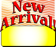 Exciting новые коробка или рамка прибытия с словами Стоковое Фото